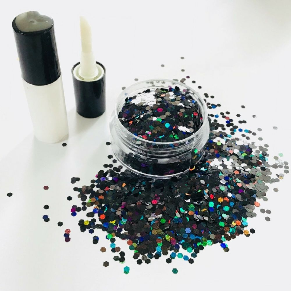 FESTIVAL GLITTER KIT -  HOLOGRAPHIC BLACK 2mm